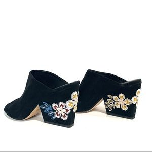 Tory Burch Embroidered Velvet peep Toe Heel Mule